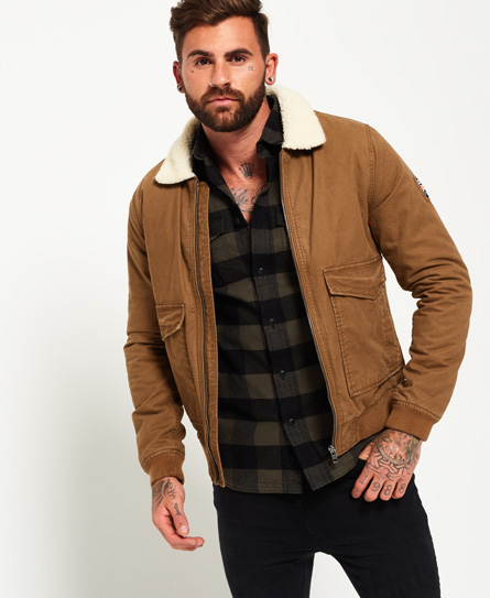 Mens - Rookie Winter Aviator Bomber Jacket in Rusty Gold | Superdry