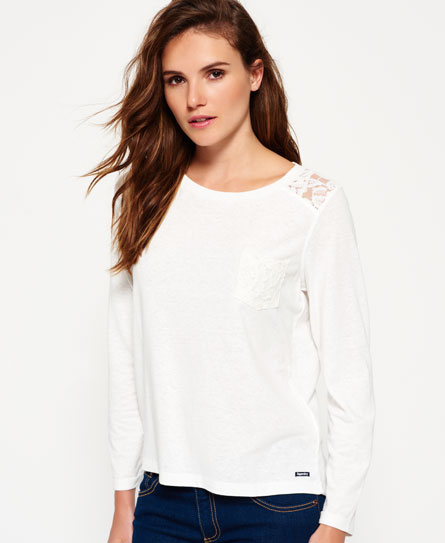 rugged winter white Superdry Essentials Lace Slouch Shirt
