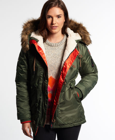 Womens - SD-3 Parka Coat in Olive | Superdry