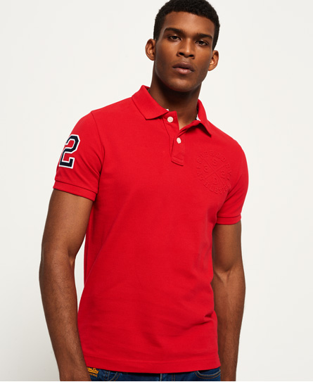 athletic red Superdry Classic Embossed Pique Polo Shirt