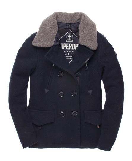 Superdry Merchant Pea Coat Blue