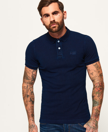 dark indigo wash Superdry Classic Indigo Pique Polo Shirt