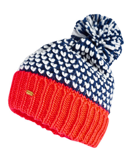 navy/fluro coral pop Superdry Spot Pop Colour Beanie