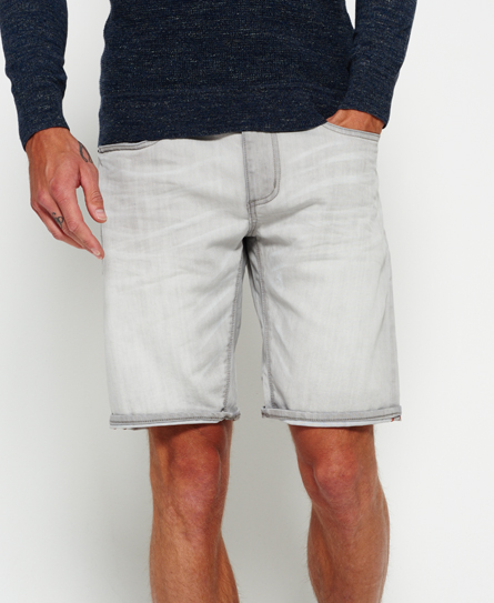 grey mist Superdry Officer Slim Denim Shorts