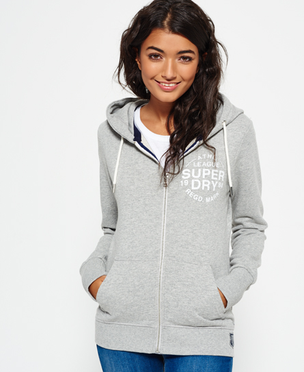 elite grey marl Superdry Sweat zippé à capuche Athletic League