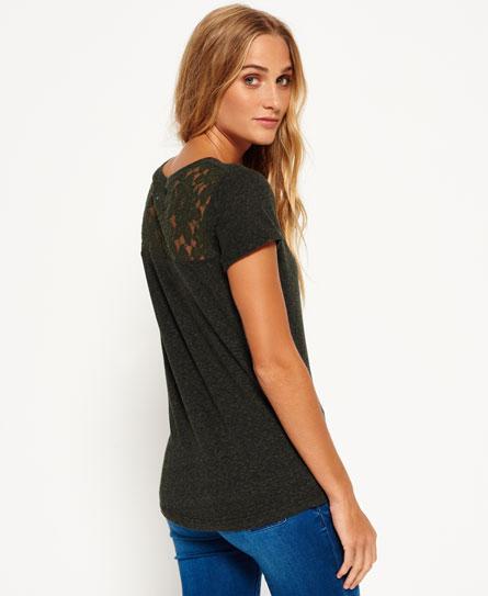 blackened khaki Superdry Super Sewn Rugged Lace T-Shirt