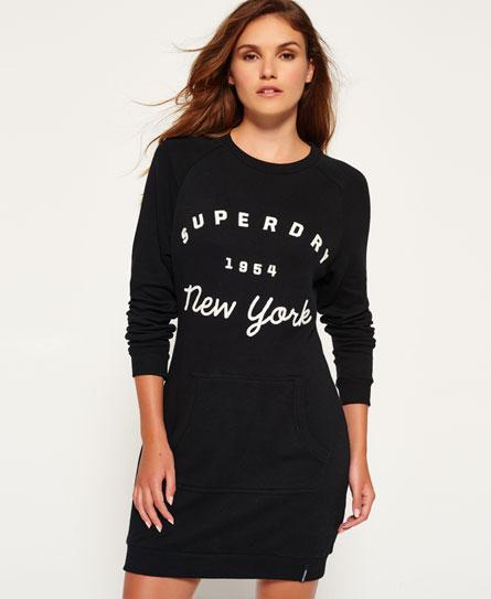 solid black Superdry Appliqué Raglan Kleid