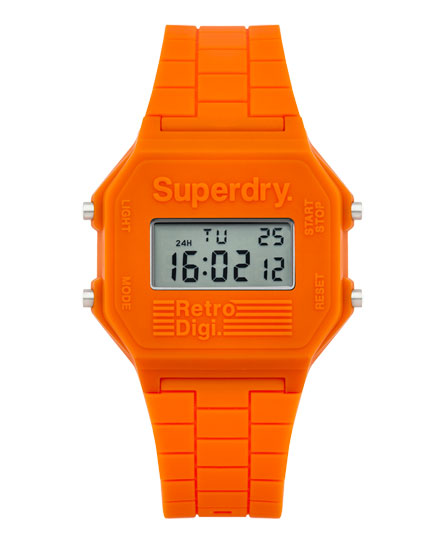 orange Superdry Retro Digi Colour Block Watch