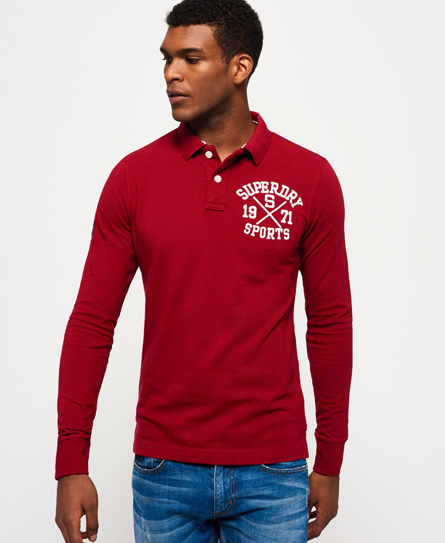 deep port wine Superdry Classic Long Sleeve Superstate Polo Shirt