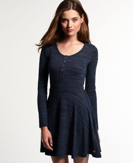 Superdry Essential Twist Yarn Skater-Kleid Marineblau