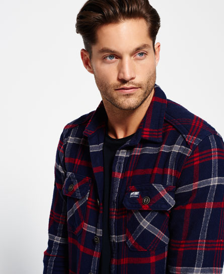 niagara navy check Superdry Milled Flannel Hemd