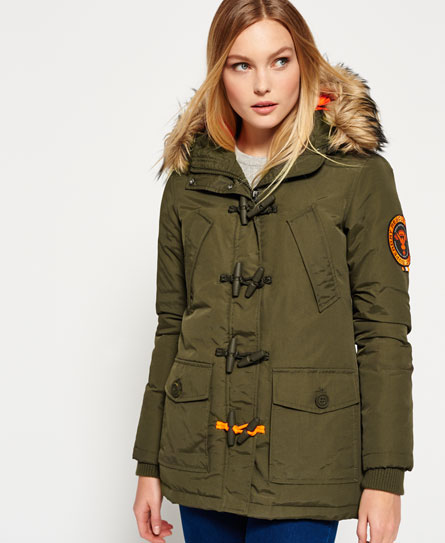 Womens - Everest Duffle Coat in Khaki | Superdry