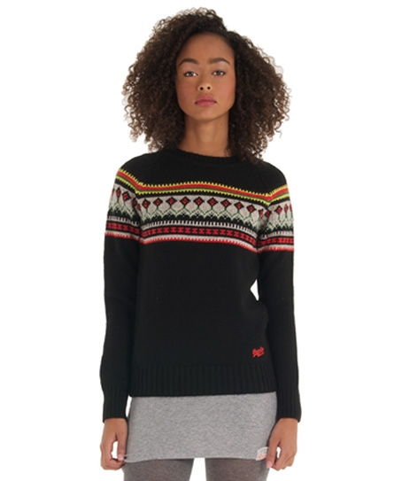 Superdry Slalom Fairisle Crew Black