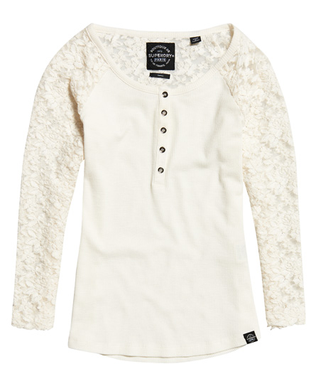 Superdry Lace Sleeve Grandad Top