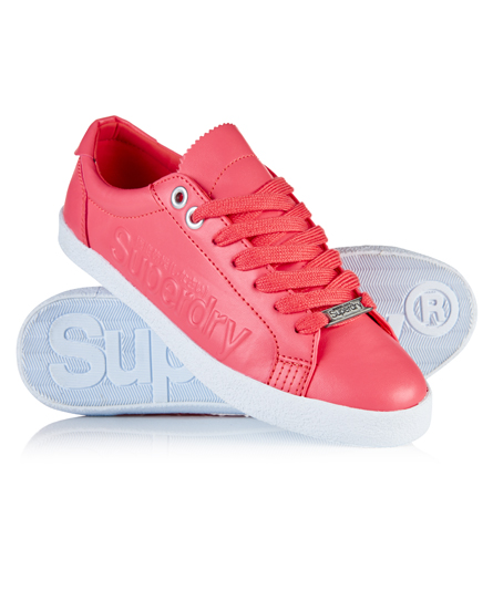 coral Superdry Super Sleek Logo Low Top Trainers