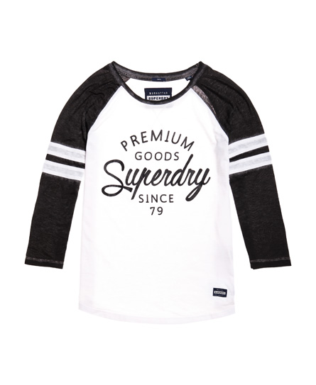 superdry brooklyn baseball shirt damen oberteile. Black Bedroom Furniture Sets. Home Design Ideas