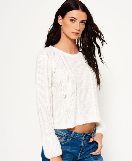 Superdry Bell Sleeve Cable Knit Cream