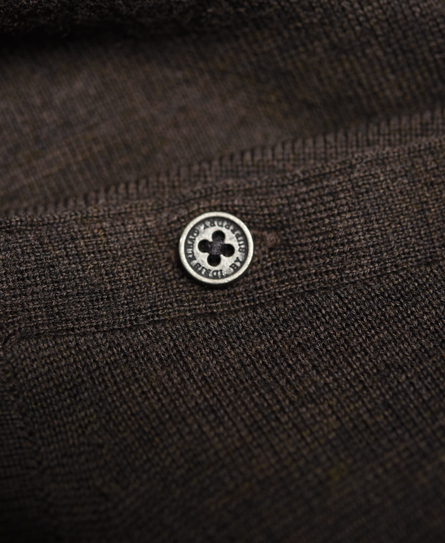Superdry Call Sheet Merino Button Crew Neck Sweater