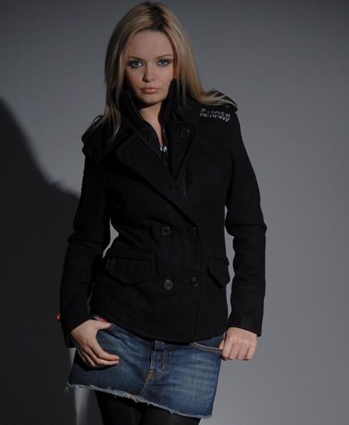 Womens - Cute Classic Pea coat in Black | Superdry
