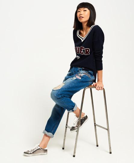 Superdry Harper Boyfriend-Jeans mit Abzeichen