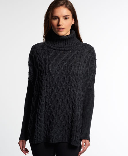 charcoal Superdry Cable Cape Pullover
