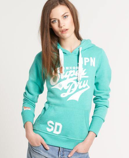womens stacker hoodie in cool green marl superdry. Black Bedroom Furniture Sets. Home Design Ideas