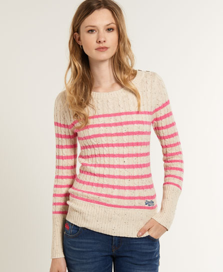 Superdry Croyde Cable Stripe Crew Cream