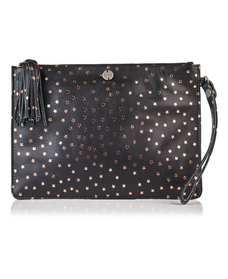 black leather Superdry North Star Clutch