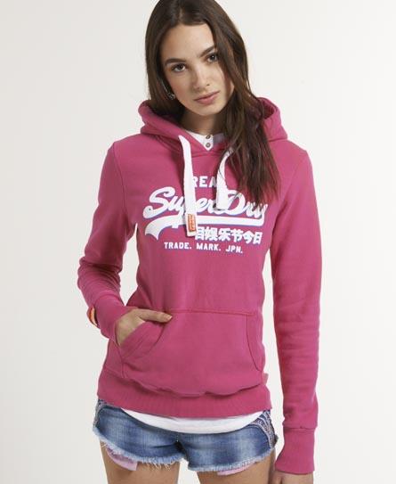 womens drop shadow hoodie in punk pink superdry. Black Bedroom Furniture Sets. Home Design Ideas