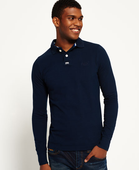 ink navy Superdry Classic Piqué Polo