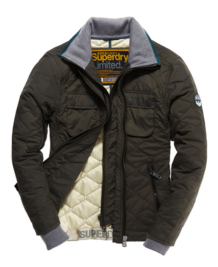 Mens - Nylon Quilt Jacket in Gate Green | Superdry