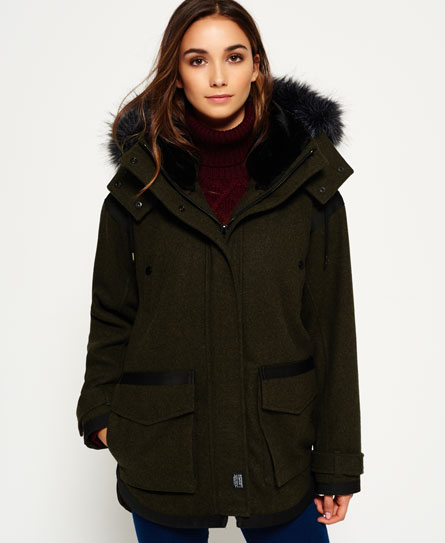 Womens - Fjord Ovoid Parka Coat in Khaki | Superdry