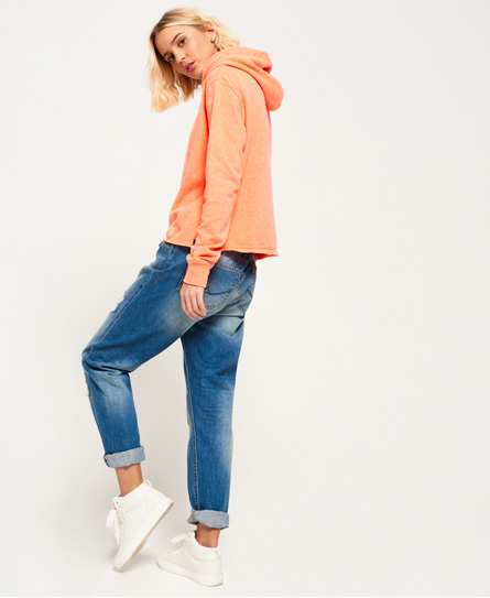 coral punch jaspe Superdry Orange Label Luxe Loopback Cropped Hoodie