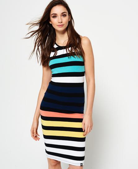 black multi stripe Superdry Core Midi Stripe Kleid