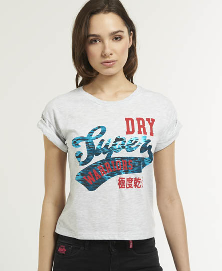 Superdry Warriors Cropped T-shirt Light Grey