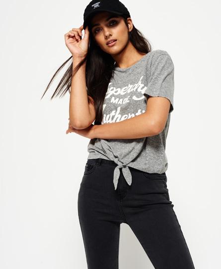 gris chiné du jour Superdry T-shirt noué à l'avant Made Authentic