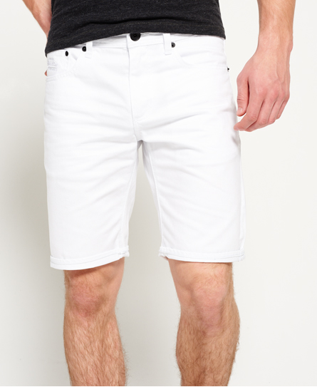 optical white Superdry Officer Slim Denim Shorts