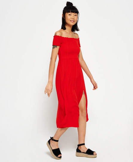 Superdry Smocking Dress Red