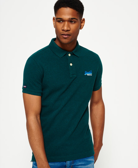 jade grit Superdry Classic Pique Polo Shirt