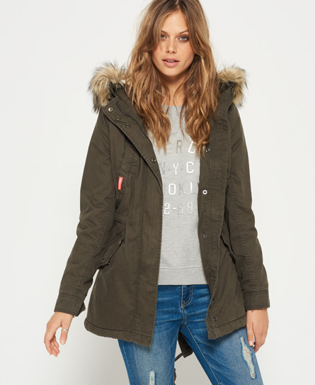 womens heavy weather rookie fishtail parka coat in vintage olive superdry. Black Bedroom Furniture Sets. Home Design Ideas