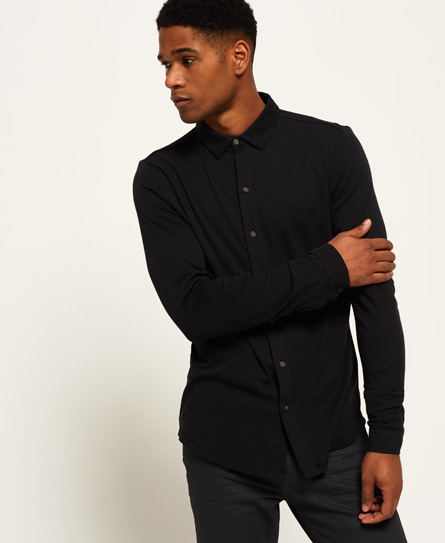 black Superdry Structured jerseyskjorte