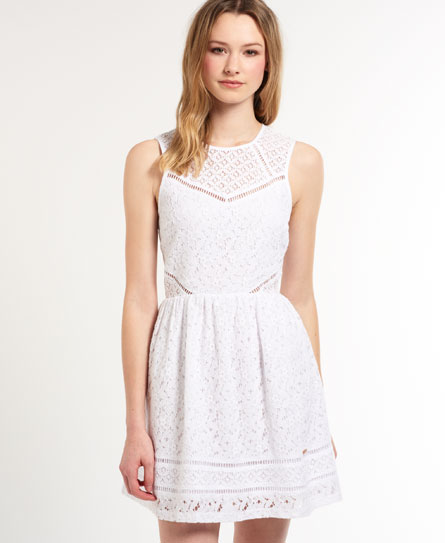 Superdry Panel Lace Skater Dress White