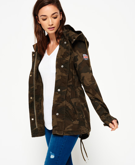 Womens - Rookie Festival Parka Jacket in Alpine Camo | Superdry