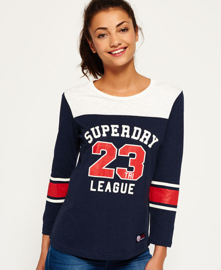 vintage white/midnight indigo Superdry Tri League Baseball-Shirt
