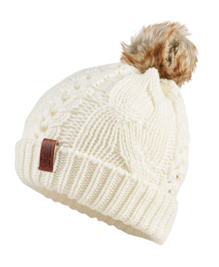 cream Superdry North Cable Bobble Hat
