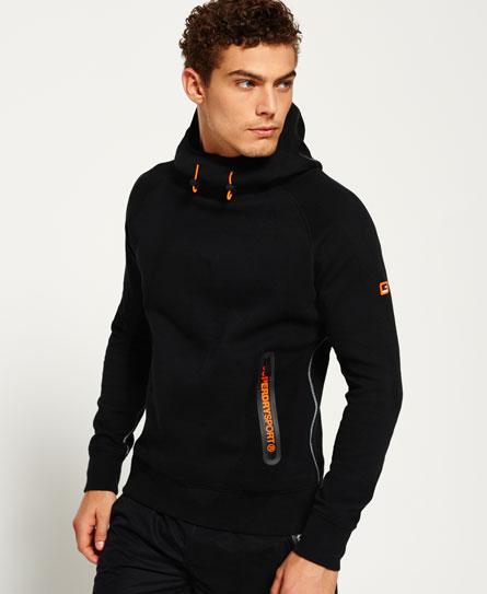 黑色/黑色 Superdry Gym Tech插肩袖连帽卫衣