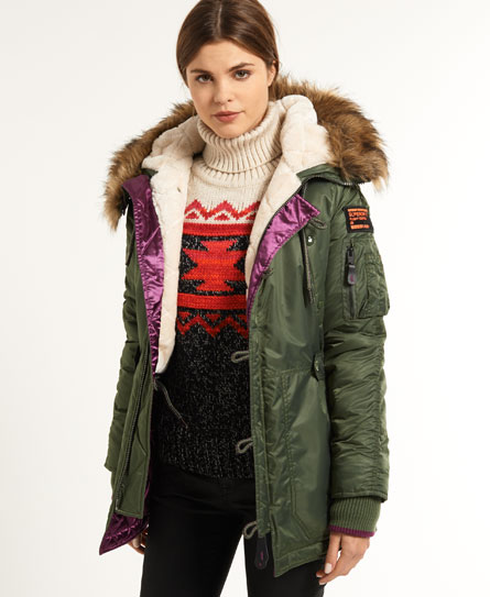 Womens - SD-3 Parka Coat in Sage Green/purple | Superdry