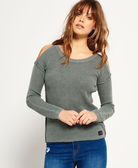 Superdry Waffle Stitch Cold Shoulder Knit Jumper
