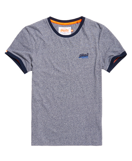 horizontblau gesprenkelt Superdry Orange Label Cali Ringer T-Shirt