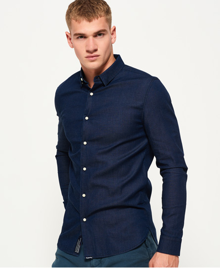 Tailored Long Sleeve Indigo Slim Shirt by Superdry